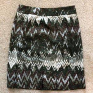 Carlisle Chevron Green Brown Skirt 8